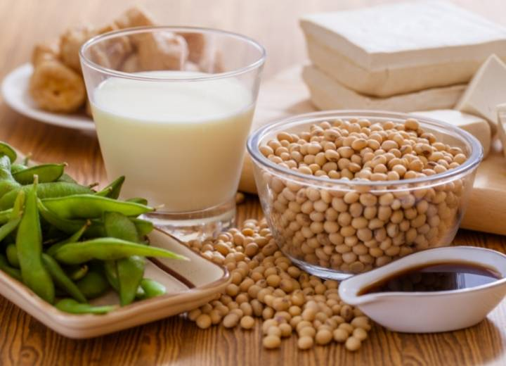 Soy products are high in protein for vegans